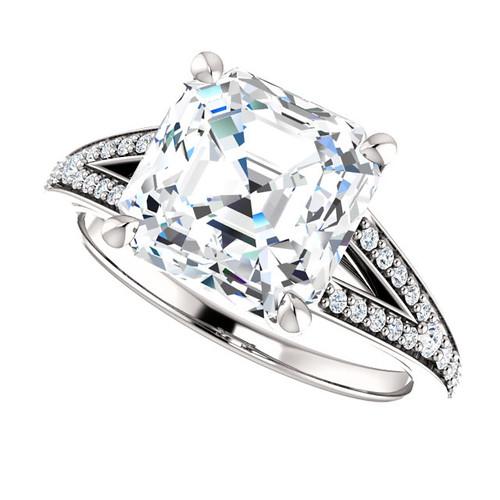 The Zena Ring Series - Eternal Moissanite 2.70CT Center Asscher Cut Engagement Ring