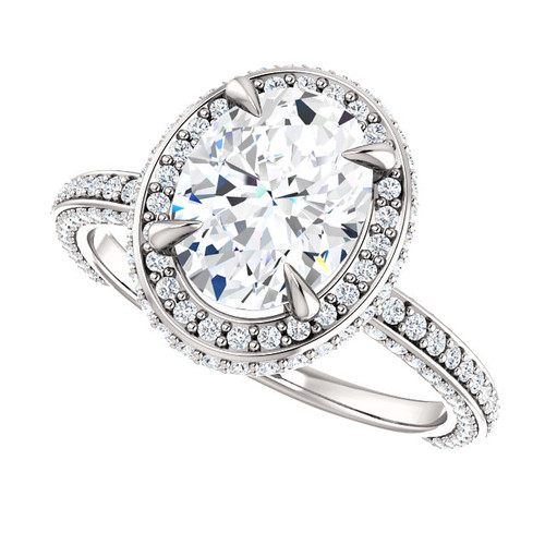 The Everly Ring Series - Eternal Moissanite Crushed Ice Oval Cut & Diamond 3D Set Engagement Ring