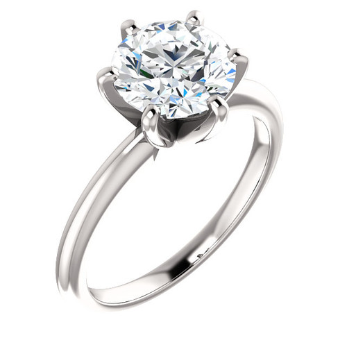 "The Classic 6 Prong Solitaire Eternal Moissanite 2CT Round ""Diamond Cut"" Engagement Ring - VIDEO BELOW!!"