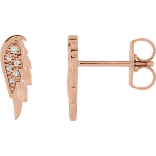 Angel Wing Earrings In 14K Rose Gold & Diamonds