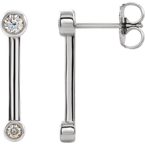 14K 1/5 CTW Diamond Bezel-Set Bar Earrings