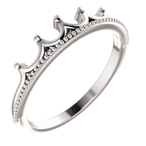 14K White, Rose or Yellow Gold Stackable Crown Ring
