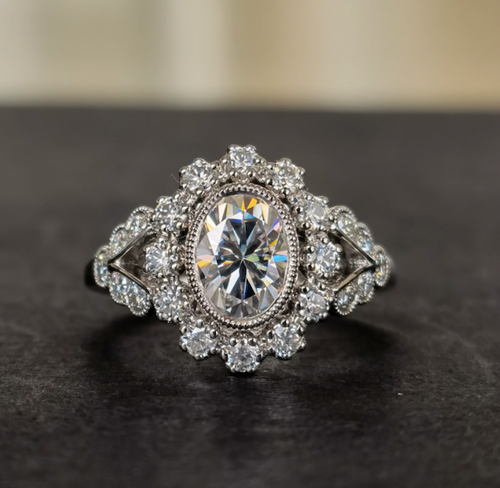 The Aubrey Ring - Eternal Moissanite Oval Cut Halo Set Engagement Ring