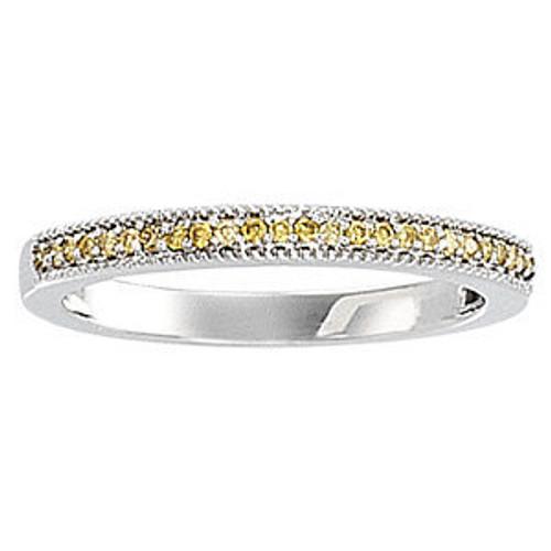Ladies 1/8CTTW Natural Yellow Diamond Round Brilliant Prong Set Band 14K White Gold