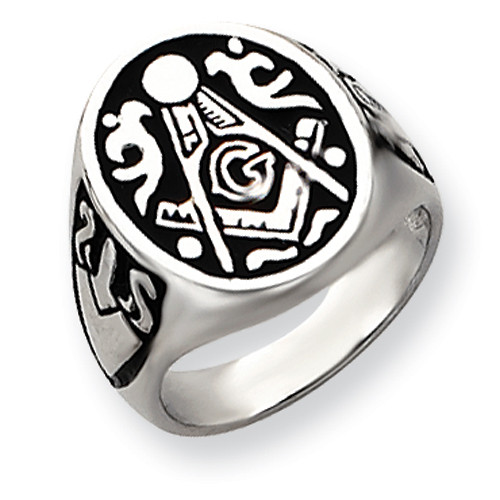 "14K White Gold Engraved Mens Masonic Ring ""Signet Style"""