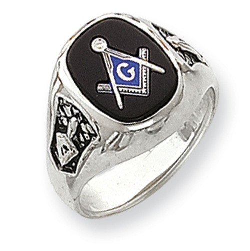 14K White Gold Masonic Ring with Black Onyx Stone & Solid Back
