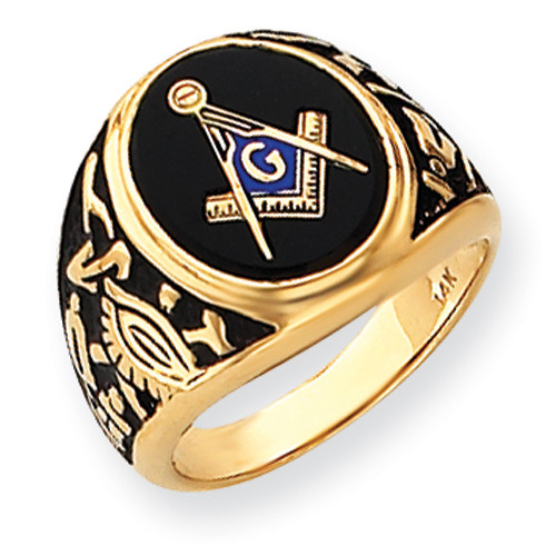 14K Yellow Gold Masonic Ring with Black Onyx Oval Cabochon Cut Stone