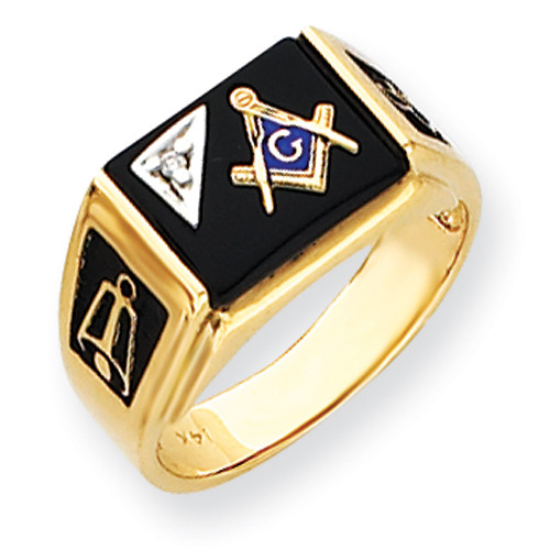 14K Yellow Gold Masonic Ring with Black Onyx Stone & Diamond