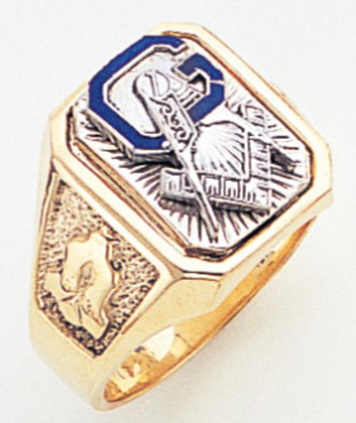 Mens Large Solid Back Master Mason Ring