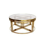 Perugia Coffee Table Set Gold/Clear