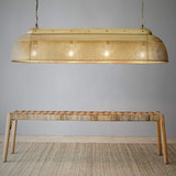 A new addition to the Riva range. Perfect for over a kitchen counter or dining table. The Riva Extra Long takes 4 light globes and has 2 chains and ceiling roses to balance the shade. Only one of the ceiling roses has the electrical port.  Antique Brass