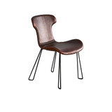 The distinctive Saddle range features an organic design with baseball stitching detail. These premium chairs and stools are crafted with top-grade European waxed leather and have a unique key-line leg design in solid steel tubing. Tan