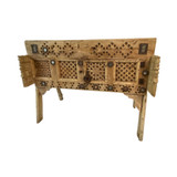 """This beautiful Hand Carved Indian Console is a one-of-a-kind piece from India, sourced by Cargo Lane from a 150 year old building. Featuring original metal work, wrought iron hardware & intricate hand-carvings. Complete with centre door for great storage.  Perfect for a hallway, living room or bedroom, with it's authentic craftsmanship, this piece will bring to your home a touch of """"old world"""" charm."""