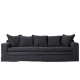 Shown in dark charcoal, the Valla sofa features a relaxed contemporary design. Upholstered in a cotton and jute blend, the Valla is not only extremely comfortable it is also very durable. Will suit interior styles from Coastal, Hamptons and Farmhouse. Front