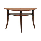 Our Half Circle Hall Table is handcrafted from sustainable palmwood & handmade in the Pacific Island's. Built to last & featuring leather bindings, these beautiful tables will be a fabulous addition to your space. The wood is harvested from local coconut plantations using sustainable practices. Perfect for a unique piece to stand alone or those small spaces to fill.