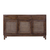 Our West End Sideboard is a great contemporary piece, made from Mango Wood & featuring rattan webbing. Constructed from solid fruit wood timber. This piece will pair back with any style & will add neutral textures & a great storage solution to your space. Front