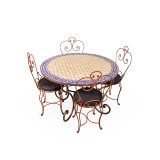 Mosaic Tile Outdoor Dining Table Round Blue