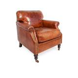 Washington Aged Leather Armchair - settle back and relax into this vintage leather armchair. Comfort and vintage style combine to add character to your favourite space. Our Washington Aged Leather Armchair is also available in a two and three seat sofa for the ultimate in luxury. Three quarter view (right).