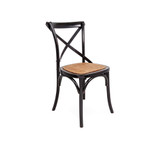 Crossback Chair Black - Classic cross back chair design perfect for Hamptons, French Provincial, or Industrial themes. Suitable for residential or commercial settings. A padded rattan seat with timber support adds extra comfort to this timeless dining chair. Three quarter view.