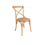 Crossback Chair Light Oak - Classic cross back chair design perfect for updated Hamptons, French Provincial, or Industrial themes. Suitable for residential or commercial settings. A padded rattan seat with timber support adds extra comfort to this timeless dining chair. Three quarter view (right).