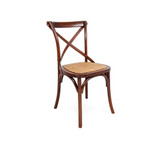 Crossback Chair Dark Oak - Classic cross back chair design perfect for updated Hamptons, French Provincial, or Industrial themes. Suitable for residential or commercial settings. A padded rattan seat with timber support adds extra comfort to this timeless dining chair. Three quarter view (right).