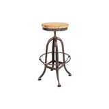 Industrial Swivel Stool - industrial adjustable height stool with aged metal frame and footrest, and rustic timber seat. Front view.