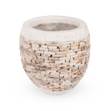 Quartz Pebble Stone Plant Pot Large - add character to your entryway or garden design with this hand crafted quartz pebble stone plant pot. Available in a range of sizes, each plant pot is crafted from natural materials set in concrete, adding texture and visual appeal.