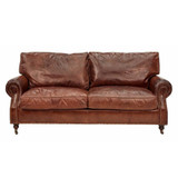 Kingsley 3 Seat Leather Sofa - add classic luxury with this aged leather two seat sofa. Sink in to the generous cushions and relax - suits traditional, vintage and eclectic design themes.