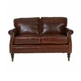 Washington Leather Sofa 2 Seater - add classic luxury with this vintage leather two seat sofa. Comfort and vintage style combine to add character to your favourite space. Front view.