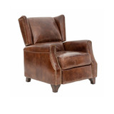 St George Recliner - luxurious aged leather recliner with pressure sensitive mechanism. For the ultimate in comfort and traditional style, sink back into this rich mid brown vintage leather recliner with your favourite scotch or coffee and a good book. 3/4 view.