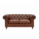Hampshire Court Vintage Leather Chesterfield Sofa 2-seater - add classic luxury with this vintage leather two seat chesterfield sofa. Comfort and vintage style combine to add character to your favourite space. Front