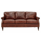 Washington Leather Sofa 3 Seater - add classic luxury with this vintage leather three seat sofa. Comfort and vintage style combine to add character to your favourite space. Front view.