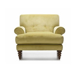 Coogee Chair in Citrine Velvet - sink in to this comfortable Australian made custom designed armchair. With a variety of fabrics and colours available, and delivery in 6-8 weeks, this is the perfect addition to your living space. Front view.