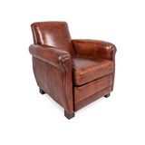 St Henry Aged Leather Armchair - sink in and relax to this classic vintage leather armchair. With its rolled arms and deeply padded seat cushion, the St Henry Aged Leather Armchair is sure to impress. Three quarter view (right).