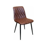 Elise Leather Look Dining Chair - Mid Century Dining Chair with diamond stitch detailing and rich mid brown finish with dark leg. Add mid century style to your dining space with the Elise Leather Look Dining Chair, referencing Don Draper/mid century and Scandinavian design themes.