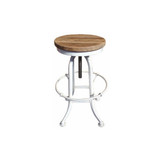 Our Industrial Swivel Stool in White with reclaimed timber top is the ultimate in industrial décor. Fully adjustable, this versatile piece can easily be used as an occasional low stool, or as a counter or low bar stool. Suitable for residential or commercial use, this is perfect for adding a touch of industrial edge.