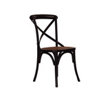 Antique Black Crossback Chair - classic cross back chair design perfect for French Provincial or Industrial themes. Suitable for residential or commercial dining settings. A simple black timber cross strap adds character and charm to this timeless crossback dining chair. 3/4 view.
