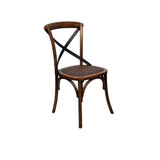 Crossback Chair Dark Oak Finish with Metal Strap - classic cross back chair design perfect for Hamptons, French Provincial, or Industrial themes. Suitable for residential or commercial dining settings. A simple metal cross strap adds character and charm to this timeless crossback dining chair. 3/4 view.