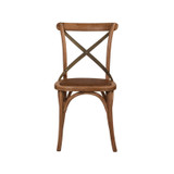 Crossback Chair Oak Grey Aged Metal Strap   - classic cross back chair design perfect for Hamptons, French Provincial, or Industrial themes. Suitable for residential or commercial settings. Verdi-green grey metal strap adds character and charm to this timeless crossback dining chair. Front view.