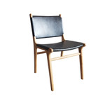 Our Teak dining chair with high quality black Italian leather seat are a piece of art! Well built and with superb comfort & style. You will love sitting around the dining table with family and friends entertaining in the diving chair. Handcrafted from quality materials by our artisan craftsman in Indonesia. Front view