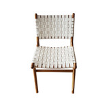 This high quality teak dining chair offers quality and comfort with woven leather to allow the perfect balance of give and support. Front view