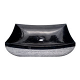 Elegant black marble bathroom hand basin with mirror-polished interior surface, viewed from above.