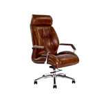 The Executive Desk Chair is upholstered in our signature aged leather, it has an ergonomic seating position with additional head support. 3/4