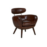 The Retro Leather Armchair is upholstered in top grain Italian leather, super comfortable, a character piece for your lounge or library.  3/4 view