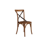 Crossback Chair Light Oak Black Metal Strap  - classic cross back chair design perfect for Hamptons, French Provincial, or Industrial themes. Suitable for residential or commercial dining settings. Aged dark metal strap adds character and charm to this timeless crossback dining chair. Three quarter view. 3/4 view