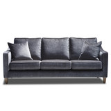 The Windsor 3 seater sofa is a contemporary design to compliment your lounge, bedroom or library. It features feather blend back cushions for comfort and support. The Windsor can be ordered in the fabric as shown, or customise with your own choice of fabric. Dark Grey. Front