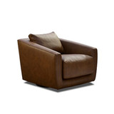 The Dune Armchair was designed with function and comfort in mind. Featuring angled arms, feather top seat and back cushion and a functional swivel base. This armchair will compliment both modern and contemporary interiors, in your home or office. The Dune can be upholstered in the fabric or leather of your choice. 3/4 view