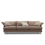 The Rydell 4 seater sofa was designed with the 70's in mind. Featuring deep seated comfort with plush feather filled cushions, turned timber legs and modern shelter arms. The Rydell will suit contemporary interiors. Front