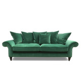 The Habitat 3 seater sofa features a timeless design to suit both vintage and contemporary interiors. With an array of feather-filled scatter cushions and feather blend seating for extra comfort. The Habitat can be ordered in the fabric as shown, or customise with your own choice of fabric. Front