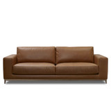 The Aston 3 seater leather sofa features a relaxed contemporary design, with feather top seat cushions and wide arm rests for extra comfort. Leather